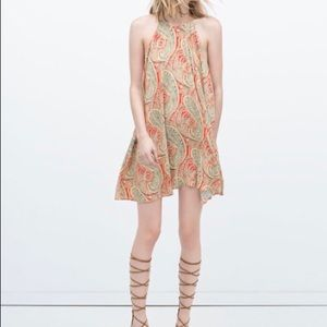 Zara Paisley Print Halter Dress